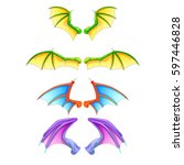 dragon wings isolated on white... | Shutterstock .eps vector #597446828