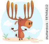 cute cartoon moose character.... | Shutterstock .eps vector #597456212