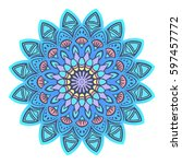 gently_blue_mandala. decorative ... | Shutterstock .eps vector #597457772