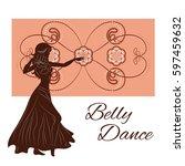 silhouette of a girl dancing... | Shutterstock .eps vector #597459632