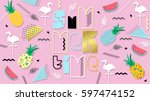 80s  summer color poster and... | Shutterstock .eps vector #597474152