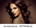 glamour portrait of beautiful... | Shutterstock . vector #597496616
