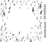 round musical frame of notes ... | Shutterstock .eps vector #597499532