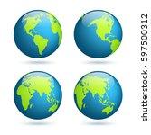 earth globe. world map set.... | Shutterstock .eps vector #597500312