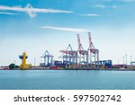 industrial sea port with... | Shutterstock . vector #597502742