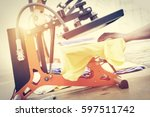 man preparing t shirt for... | Shutterstock . vector #597511742