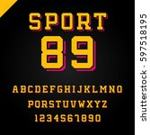 sport font. vector alphabet... | Shutterstock .eps vector #597518195
