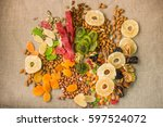 nuts and candied fruits ... | Shutterstock . vector #597524072