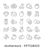 set  line icons in flat design... | Shutterstock . vector #597528425