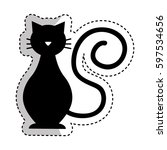 cute cat mascot silhouette... | Shutterstock .eps vector #597534656