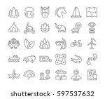 set  line icons in flat design... | Shutterstock . vector #597537632