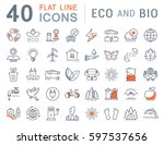 set  line icons in flat design... | Shutterstock . vector #597537656