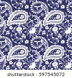 seamless blue watercolor... | Shutterstock . vector #597545072