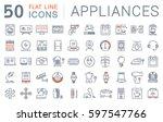 set  line icons in flat design... | Shutterstock . vector #597547766