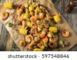 homemade traditional cajun... | Shutterstock . vector #597548846