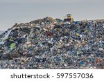 pollution concept. garbage pile ... | Shutterstock . vector #597557036