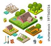 3d isometric house and garden... | Shutterstock .eps vector #597560216