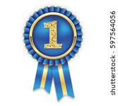 gold 1st  place rosette  badge...