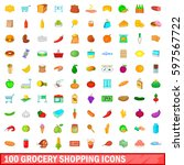 100 grocery shopping icons set... | Shutterstock . vector #597567722