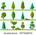 collection of geometric trees ... | Shutterstock .eps vector #597568592