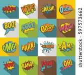 comic colored sound icons set.... | Shutterstock . vector #597573662
