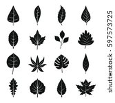 plant leafs icons set. simple... | Shutterstock . vector #597573725