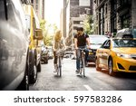 couple of new yorkers on their... | Shutterstock . vector #597583286