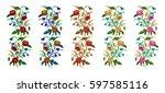 set. color  bouquet of flowers  ... | Shutterstock .eps vector #597585116