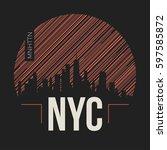 new york city graphic  t shirt... | Shutterstock .eps vector #597585872