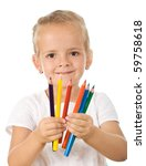 Little girl with colored pencils - isolated - stock photo
