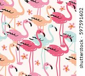 the flock of flamingos on the... | Shutterstock .eps vector #597591602