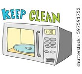 an image of a  keep microwave... | Shutterstock .eps vector #597591752