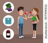 couple sport eating healthy | Shutterstock .eps vector #597599552