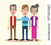 dad with grandfather and... | Shutterstock .eps vector #597601862