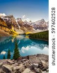landscape view of moraine lake... | Shutterstock . vector #597602528