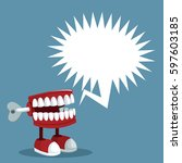 april fools day teeth prank... | Shutterstock .eps vector #597603185