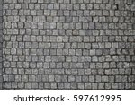 cobble stone road in lines grey ... | Shutterstock . vector #597612995