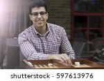 concept of arabian arabic... | Shutterstock . vector #597613976