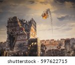 Historic War And Catapult Fire