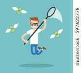 young nerd trying to catch... | Shutterstock .eps vector #597622778