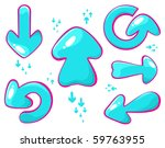 set of vector blue arrow shapes | Shutterstock .eps vector #59763955