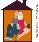 young happy couple in a little... | Shutterstock .eps vector #597642746