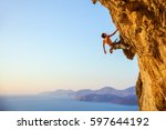 young man looking up while... | Shutterstock . vector #597644192