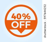 40  off circle sign icon.... | Shutterstock .eps vector #597644252