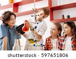 happy delighted kids... | Shutterstock . vector #597651806