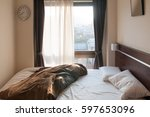 bed mattress and pillows mess... | Shutterstock . vector #597653096