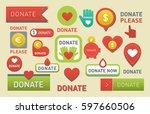 donate buttons vector set... | Shutterstock .eps vector #597660506
