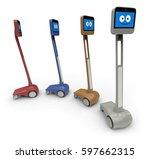 telepresence robot isolated on... | Shutterstock . vector #597662315