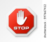 stop palm icon  no entry icon ... | Shutterstock .eps vector #597667412