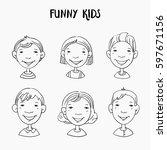 funny kids. vector cute boys...